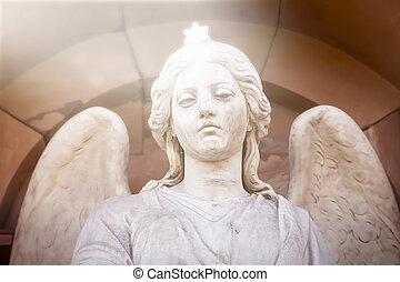 kopf, seine, stern, engelchen, skulptur, marmor