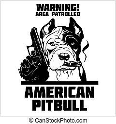 kopf, sicherheit, gewehr, -, amerikanische , cigar., hund, pitbull