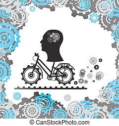 kopf, silhouette, image., eps, mechanismus, fahrrad, gehirn, vektor, menschliche , gears.