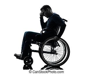 kopf, silhouette, rollstuhl, behinderten, hände, mann