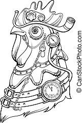 kopf, steampunk, symbol, stil, zeit, hahn