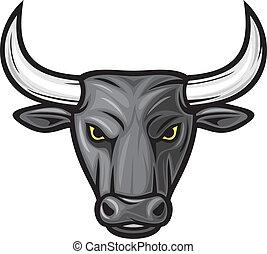 kopf, stier, schwarz, bull), (black