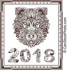 kopf, symbol, hund, vogel, 2018, feder, abstrakt