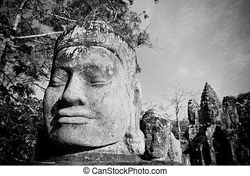 kopf, tor, vormund, angkor, cambodscha