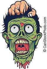 kopf, tot, hand, zombie, menschliche , halten