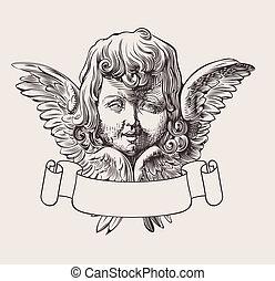 kopf, vektor, banner, engelchen, gravieren