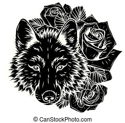 kopf, vektor, grafik, abbildung, wild, wolf.
