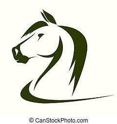 kopf, vektor, pferd