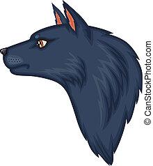 kopf, wolf, karikatur
