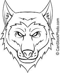 kopf, wolf, symbol, abbildung
