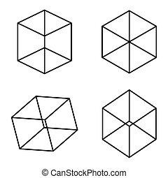 Kopfermann cubes optical illusion. It takes some time to see...