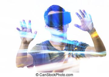 kopfhörer, doppelgänger, virtuelle wirklichkeit, gebrauchend, mann, aussetzung