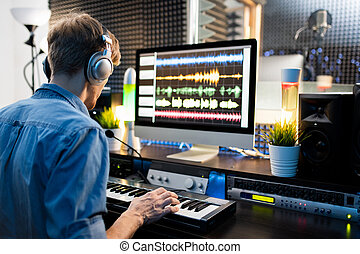 kopfhörer, drücken, musiker, computer- schlüssel, tastatur, klavier, schirm