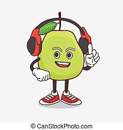 kopfhörer, fruechte, sprechen, karikatur, maskottchen, zeichen, guave