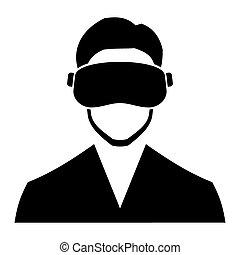 kopfhörer, icon., vektor, virtuelle wirklichkeit