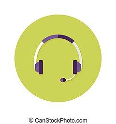kopfhörer, kreis, callback, wohnung, ikone