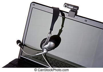kopfhörer, laptop, webcam