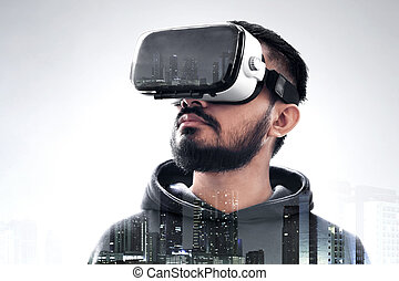 kopfhörer, mann, virtuell, tragen, wirklichkeit
