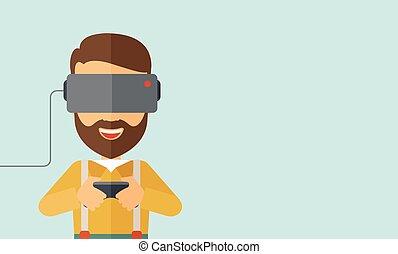 kopfhörer, mann, virtuelle wirklichkeit