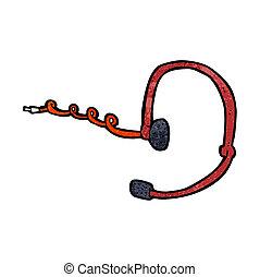 kopfhörer, rufen, karikatur, zentrieren