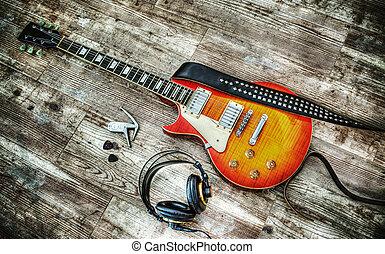 kopfhörer, und, gitarre, in, hdr
