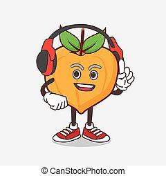 kopfhörer, zeichen, sprechen, eggfruit, maskottchen, karikatur