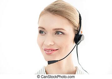 kopfhörer, zentrieren, freigestellt, rufen, bediener, porträt, lächeln, weißes