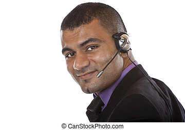 kopfhörer, zentrieren, junger, agent, rufen, mann