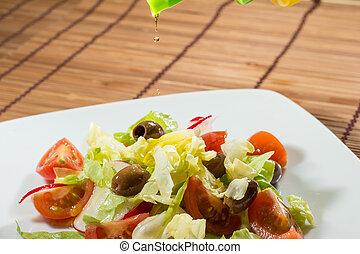 kopfsalat, tomaten, salat, kirschen
