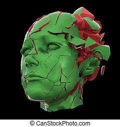 kopfschmerzen, kopf, frau, geistig, probleme, -, shuttered, beanspruchen, explodieren, glänzend