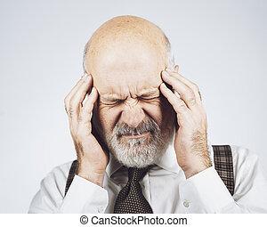 kopfschmerzen, schlechte, haben, älterer mann