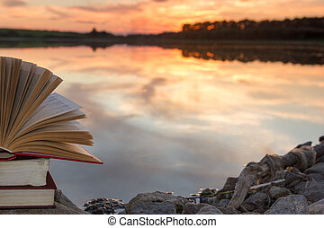 kopia, school., natura, przestrzeń, niebo, wstecz, przeciw, zamazany, tło., książki, zachód słońca, light., hardback, zasłona, stóg, wykształcenie, otwarta książka, krajobraz