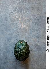 kopie, avocado, grijze , achtergrond, ruimte