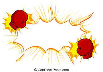kopie, boxhandschuhe, tritt, raum