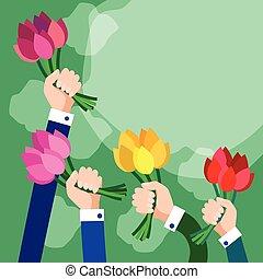 kopie, groep, zakelijk, ruimte, bouquetten, handen, bloemen