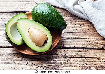 kopie, hout, avocado, achtergrond, space.