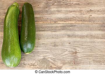 kopie, hout, zucchinis, achtergrond, ruimte