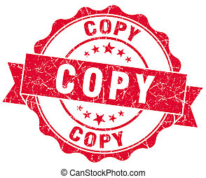 kopie, rode grunge, postzegel
