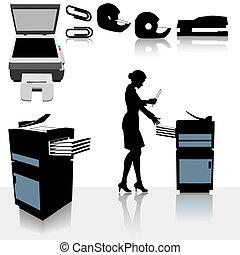 kopieerapparaat, vrouw, kantoor, zakelijk