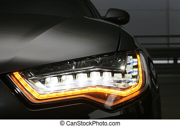 koplamp, van, prestigious, auto, dichtbegroeid boven