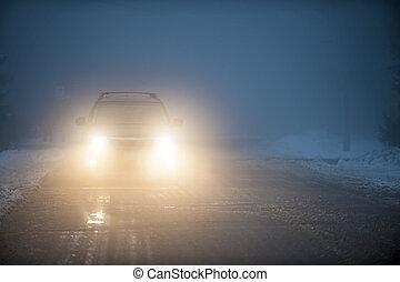 koplampen, van, auto, geleider, in, mist