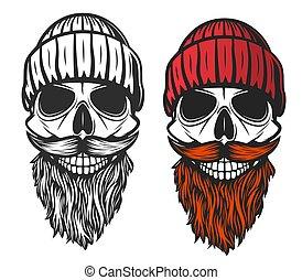 koponya, kötött, kalap, szakáll, piros, bajusz