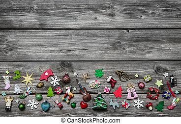 kopott, fából való, szürke, háttér, miniat, sikk, karácsony, színezett