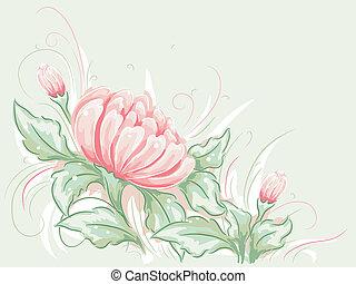 kopott, sikk, virág, tervezés
