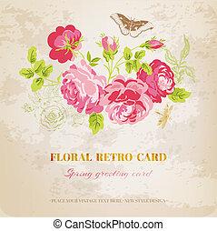 kopott, szüret, -, vektor, tervezés, virágos, sikk, kártya