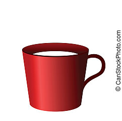 kopp, isolerat, illustration, realistisk, bakgrund, vit röd