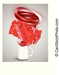 kopp, jordgubbe, yoghurt/drink, illustration, realistisk, vektor