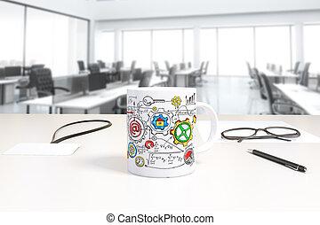 kopp, med, affär, intrig, tryck, och, emblem, på bordet, in, öppen mellanslag, kontor, 3, render