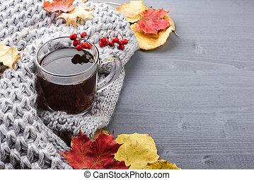 kopp med te, och, grå, plaid.