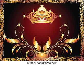 koppar, prydnad, krona, luxuös